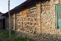 Stone, wood and mud façade. In a village in Kenya royalty free stock photos