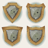 Stone And Wood Shield Security Icons Stock Images