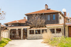 Stone-wooden architecture in the Bulgarian town of Pomorie Stock Photography