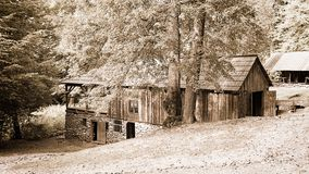 Stone and wooden barn Stock Photo