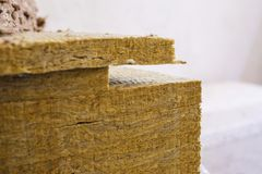 Stone wool insulation. Stone mineral wool insulation for thermal insulation of buildings Stock Image