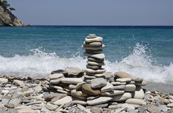 Stone, zen, sea, wave, relax, blue. Stone zen-like in samos island Stock Image