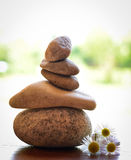 Stone zen spa on wood Royalty Free Stock Photo