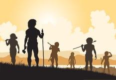 Stoneage hunters. Editable vector silhouettes of cavemen hunters on patrol Stock Photo