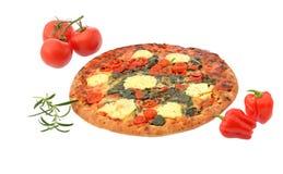 Stonebaked pizze som isoleras på vit Arkivfoton