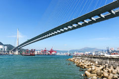 Stonecutters bridge under blue sky in the China Stock Photos