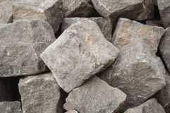 Stoned cobbles for road paving. Closeup of stoned cobbles for road paving rconstruction Royalty Free Stock Photos