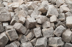 Stoned cobbles for road paving rconstruction. Closeup of stoned cobbles for road paving rconstruction Stock Photo