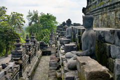 Stoned image of Buddha in Borobudur Royalty Free Stock Image