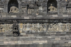 Stoned image of Buddha in Borobudur, Indonesia Stock Photo