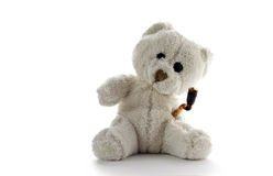 Stoned Teddy bear on neutral background. Stoned White Teddy bear on neutral background with toothbrush Stock Photos