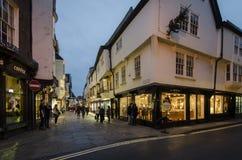 Stonegate i York på skymning Royaltyfria Foton