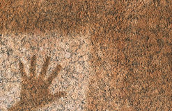 Stonehand. A print of a hand on a granite wall Stock Photo