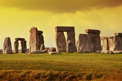 Stonehenge日落 库存照片