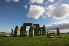 Stonehenge. On a bright summer afternoon with white clouds royalty free stock photo