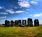Stonehenge. Under blue sky and cloudscape, Wiltshire, England Royalty Free Stock Photo