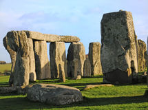 Stonehenge. A section of Stonehenge, showing the large vertical stones, the sarsens, trilithons (horizontal lintels) and the smaller vertical stones, the Stock Images