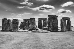 Spring day at English Heritage site - Stonehenge. Black & white photo of Stonehenge taken on a late spring day stock images