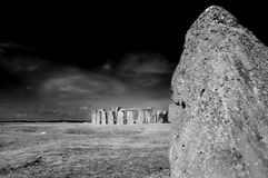 Stonehenge. The heal stone with the rest of Stonehenge in the background and behind that Salisbury Plain at the summer solstice stock images