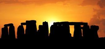 заход солнца stonehenge Стоковая Фотография