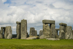 Stonehenge. A beautiful cloudy sky helps to highlight the ancient Stonehenge Monument Royalty Free Stock Photo