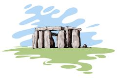 Stonehenge. Vector illustration of stonehenge against abstract background Stock Images