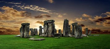 Stonehenge. Large panorama at sunset, United Kingdom (without tourists