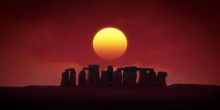 Stonehenge. The sun was added in Photoshop to my photograph from Stonehenge Royalty Free Stock Images