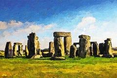 Stonehenge - Acryl-u. Paletten-Messer-Farbe auf Segeltuch Stockbilder