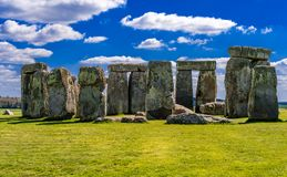 Stonehenge on a sunny day in April. stock photo