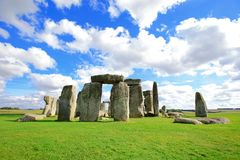 Stonehenge. An ancient prehistoric stone monument near Salisbury, Wiltshire, UK. in England stock photo