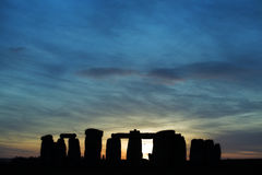 Stonehenge au coucher du soleil Image stock