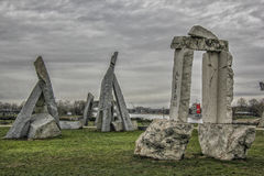 Stonehenge auf Ada Ciganlija, Belgrad Lizenzfreies Stockfoto