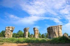 Stonehenge av Thailand, Mor Hin Khao på det thailändska Chaiyaphum landskapet Royaltyfria Bilder
