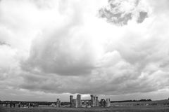 Stonehenge - B&W. This image shows Stonehenge is a prehistoric monument in Wiltshire, England, 2 miles west of Amesbury and 8 miles north of Salisbury. It stock photography