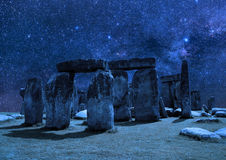 Stonehenge on the background of the night sky. Stock Images