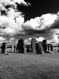 Stonehenge in black and white royalty free stock images