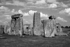 Stonehenge Black & White July 2014. The ancient stones of Stonehenge in black and white July 2014 royalty free stock image