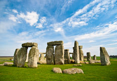 Stonehenge with blue sky.
