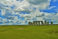 Stonehenge on Cloudy Day Wide. Stonhenge monument wide shot on a cloudy day stock image