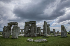 Stonehenge - cloudy skies. This image shows Stonehenge is a prehistoric monument in Wiltshire, England, 2 miles west of Amesbury and 8 miles north of Salisbury stock photography