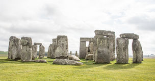 Stonehenge complex of stones with ditch. Sarsen and blue stones with lintels making the iconic Stonehenge monument. Constructed around BC 3000 Royalty Free Stock Photography