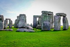 Stonehenge in England. Stonehenge is a prehistoric monument in Wiltshire in England. It consists of a ring of standing stones stock photography