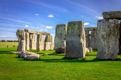 Stonehenge in England. Stonehenge is a prehistoric monument in Wiltshire in England. It consists of a ring of standing stones royalty free stock photos
