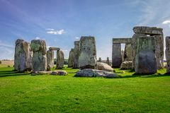 Stonehenge in England. Stonehenge is a prehistoric monument in Wiltshire in England. It consists of a ring of standing stones royalty free stock photography