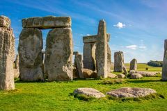 Stonehenge in England. Stonehenge is a prehistoric monument in Wiltshire in England. It consists of a ring of standing stones stock photo