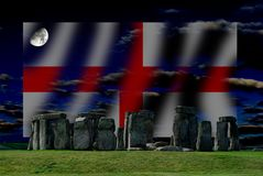 Stonehenge and English flag is a megalithic monument Neolithic. Stonehenge and English flag, comes to mind the image of a stone circle that rises, alone, on the royalty free stock image