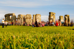 Stonehenge on the eve of the Summer Solstice. This long exposure was captured at Stonehenge as revelers arrived to enjoy a night long celebration ending sunrise royalty free stock images