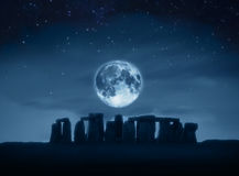 Stonehenge full moon Stock Photography
