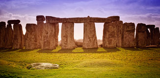 Stonehenge. Historical monument in daylight and vivid colors, United Kingdom (without tourists Stock Photo
